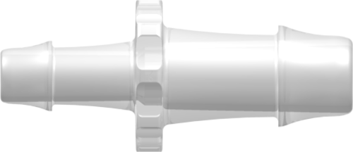 "[VP-N070-055-6005] Straight Through Reduction Connector with 500 Series Barbs, 3/8"" (9.5 mm) and 1/4"" (6.4 mm) ID Tubing, Animal-Free Natural Polypropylene"