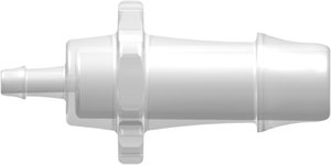 "[VP-N070-013-6005] Straight Through Reduction Tube Fitting with 500 Series Barbs, 3/8"" (9.5 mm) and 1/8"" (3.2 mm) ID Tubing, Animal-Free Natural Polypropylene"